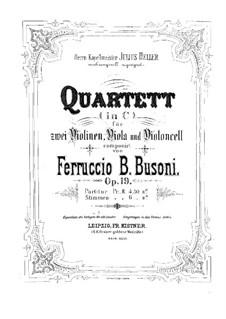 String Quartet No.1 in C Minor, BV 208 Op.19: Full score by Ferruccio Busoni