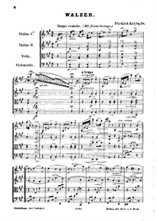 New Waltzes for String Quartet, Op.78: Full score by Friedrich Kiel