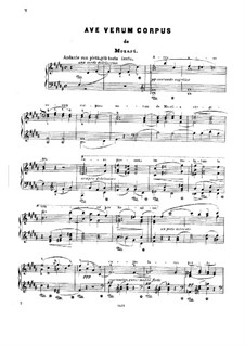 Ave verum corpus, K.618: For piano (with lyrics) by Wolfgang Amadeus Mozart