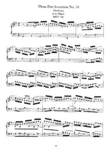 No.10 in G Major, BWV 796: For piano by Johann Sebastian Bach