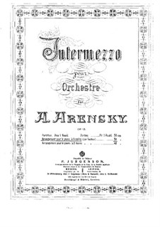 Intermezzo for Orchestra, Op.13: Version for piano four hands by Anton Arensky