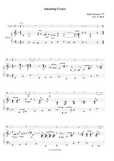 Amazing Grace: For cello and piano by folklore