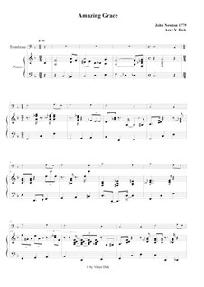 Amazing Grace: For trombone and piano by folklore