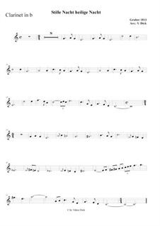 Silent Night (Downloadable): For clarinet in B and piano by Franz Xaver Gruber