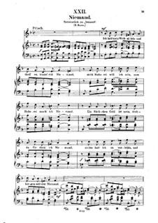 No.22 Niemand (Nobody): Piano-vocal score (German text) by Robert Schumann