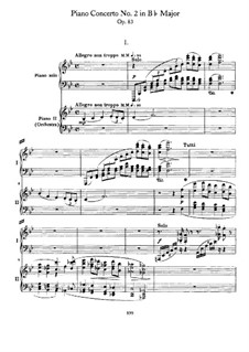 Concerto for Piano and Orchestra No.2 in B Flat Major, Op.83: Movement I. Version for two pianos four hands by Johannes Brahms