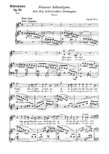 No.15 Aus den hebräischen Gesängen (Stances hébraïques): Piano-vocal score (German and french texts) by Robert Schumann