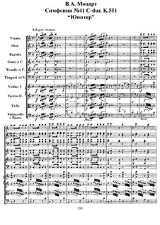 Symphony No.41 in C Major 'Jupiter', K.551: Full score by Wolfgang Amadeus Mozart