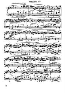 Prelude and Fugue No.14 in F Sharp Minor, BWV 883: For piano by Johann Sebastian Bach