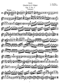String Quartet in G Major, Hob.III/15 Op.3 No.3: Parts by Joseph Haydn