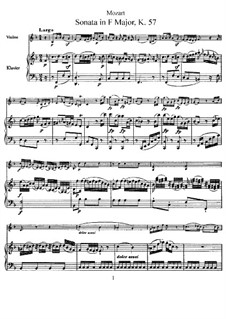 Sonata for Violin and Piano in F Major, K.57: Score, solo part by Wolfgang Amadeus Mozart