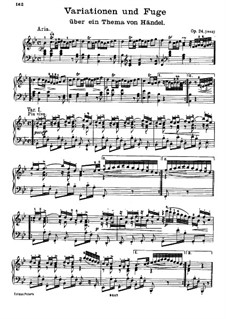 Variations and Fugue on a Theme by Handel, Op.24: For piano by Johannes Brahms