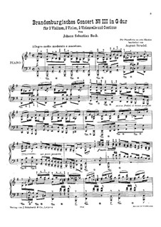 Brandenburg Concerto No.3 in G Major, BWV 1048: Piano score by Johann Sebastian Bach