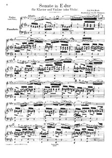 Sonata for Violin and Harpsichord No.3 in E Major, BWV 1016: Arrangement for violin (or viola) and piano by Johann Sebastian Bach