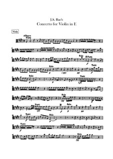 Concerto for Violin, Strings and Basso Continuo No.2 in E Major, BWV 1042: Viola part by Johann Sebastian Bach