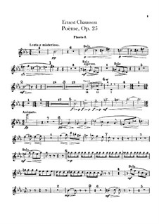 Poem in E Flat Major, Op.25: Flutes parts by Ernest Chausson