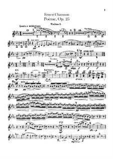 Poem in E Flat Major, Op.25: Violins parts by Ernest Chausson