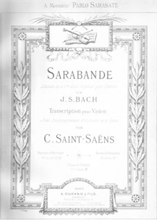 Suite No.3 in G Minor, BWV 808: Sarabande. Version for violin and piano by Johann Sebastian Bach