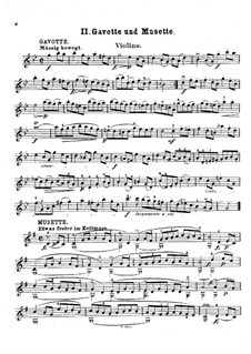 Suite No.3 in G Minor, BWV 808: Gavotte and Musette. Version for violin (or flute, or cello) and piano – violin part by Johann Sebastian Bach