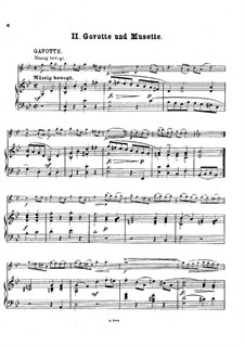 Suite No.3 in G Minor, BWV 808: Gavotte and Musette. Version for violin and piano by Johann Sebastian Bach