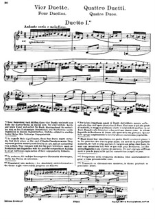 Clavier-Übung (Part III). Four Duets, BWV 802–805: Arrangement for piano by Johann Sebastian Bach
