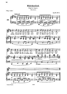 Six Songs, Op.85: No.3 Mädchenlied (Girl's Song) by Johannes Brahms