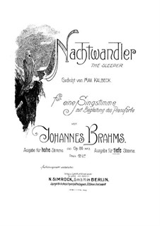 Six Songs, Op.86: No.3 Nachtwandler (Sleepwalker) by Johannes Brahms