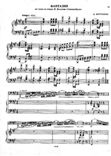 Fantasia on Themes from 'La sonnambula' by Bellini for Double Bass and Piano: Score by Giovanni Bottesini