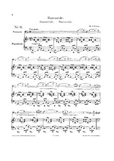 Barcarole, for Cello and Piano: Score by Mikhail Glinka