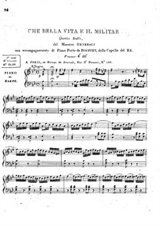 Che Bella Vita è il Militar for Voices and Piano (or Harp): Che Bella Vita è il Militar for Voices and Piano (or Harp) by Pietro Generali