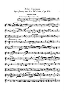 Symphony No.4 in D Minor, Op.120: Clarinets parts by Robert Schumann