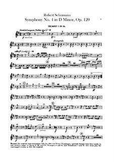 Symphony No.4 in D Minor, Op.120: Trumpets parts by Robert Schumann
