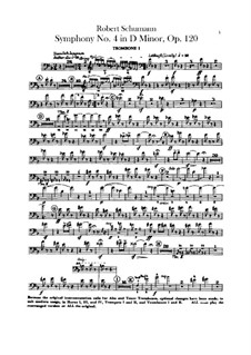 Symphony No.4 in D Minor, Op.120: Trombones parts by Robert Schumann