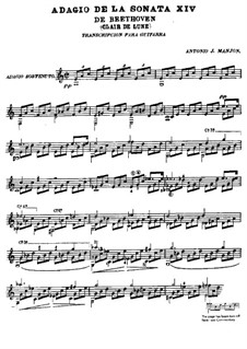 Movement I: For guitar by Ludwig van Beethoven
