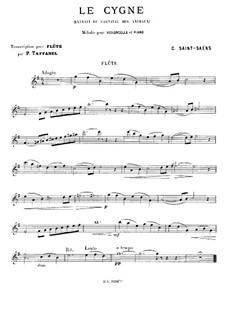 The Swan: For flute and piano – solo part by Camille Saint-Saëns