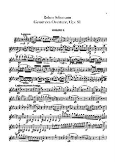 Genoveva, Op.81: Overture – violins parts by Robert Schumann