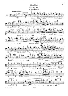 Waldscenen (Forest Scenes): No.9 Abschied (Farewell), for cello and piano – solo part by Robert Schumann