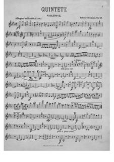 Piano Quintet in E Flat Major, Op.44: Violin II part by Robert Schumann