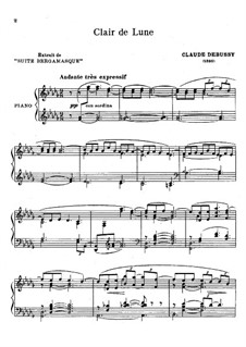 No.3 Clair de lune, for Piano: Version by Keveren by Claude Debussy