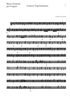 Canzon Vigesimanona: Basso continuo by Girolamo Frescobaldi
