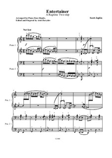 The Entertainer, for Piano: For piano four hands by Scott Joplin