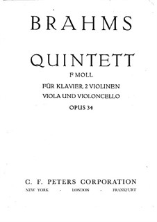 Piano Quintet in F Minor, Op.34: Full score, Parts by Johannes Brahms