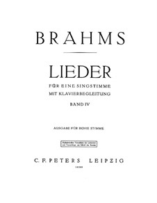 Selected Songs IV: Selected Songs IV by Johannes Brahms