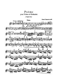 Poem in E Flat Major, Op.25: For violin and piano – solo part by Ernest Chausson