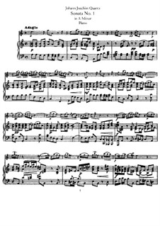 Sonata for Flute and Basso Continuo No.1, QV 1:152 Op.1: Version for flute and piano – score and solo part by Johann Joachim Quantz