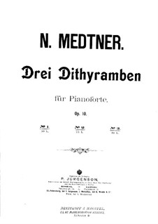 Three Dithyrambs, Op.10: Dithyramb No.1 by Nikolai Medtner