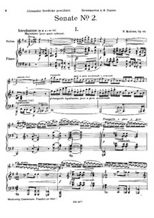 Sonata for Violin and Piano No.2 in G Major, Op.44: Sonata for Violin and Piano No.2 in G Major by Nikolai Medtner