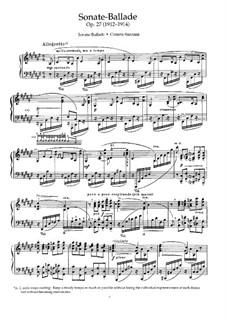Sonata-Ballada for Piano in F Sharp Major, Op.27: Movement I by Nikolai Medtner