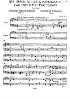 Two Pieces, Op.58: No.1 Russian Round Dance, for two pianos four hands by Nikolai Medtner