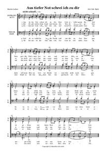 Aus tiefer Not schrei ich zu dir, BWV 38: Choral 'Ob bei uns ist der Sünden viel'. Bearbeitung für Chor by Johann Sebastian Bach